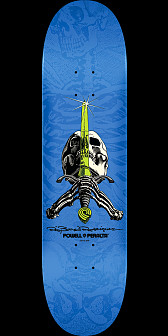 Powell Peralta Rodriguez Skull and Sword Skateboard Blue - 8 x 31.45