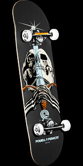 Powell Peralta Skull and Sword Complete Skateboard Gray - 7.88 x 31.67