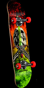 Powell Peralta Skull and Sword Complete Red/Lime - 7.5 x 31.375