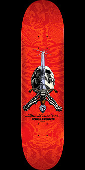 Powell Peralta Rodriguez Skull and Sword Skateboard Red - 8.25 x 31.95