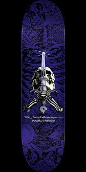 Powell Peralta Rodriguez Skull and Sword Skateboard Purple - 8.5 x 32.08
