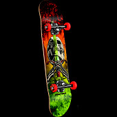 Powell Peralta Skull and Sword Storm Complete Red/Lime - 7.5 x 31.375