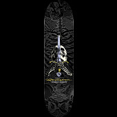 Powell Peralta Rodriguez Skull and Sword Skateboard Grey/Black - 8.75 x 32.95