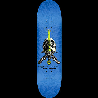 Powell Peralta Rodriguez Skull and Sword Skateboard Blue - 8 x 32.125