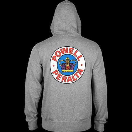 Powell Peralta Hooded Zip Sweatshirt Supreme Logo Gray