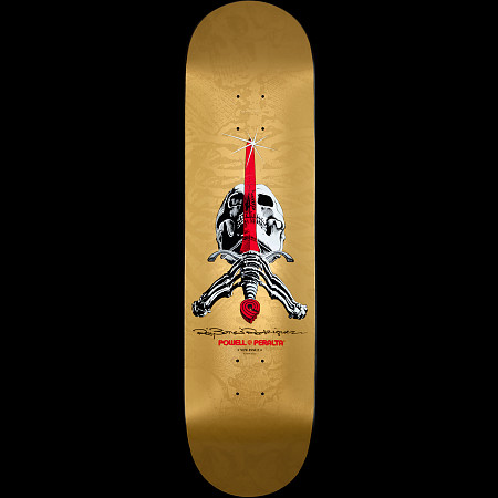 Powell Peralta Ray Rodriguez Skull and Sword Gold Deck - 8.75 x 33.25