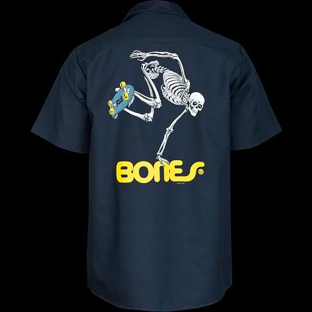 Powell Peralta Skateboarding Skeleton Work Shirt - Navy