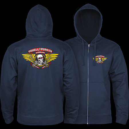 Powell Peralta Winged Ripper Hooded Zip - Navy