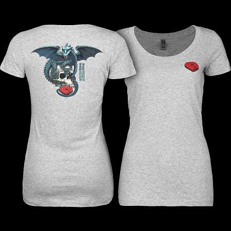 Powell Peralta Woman's T-Shirt Dragon Skull Grey
