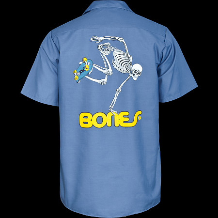 Powell Peralta Skateboarding Skeleton Work Shirt - Blue